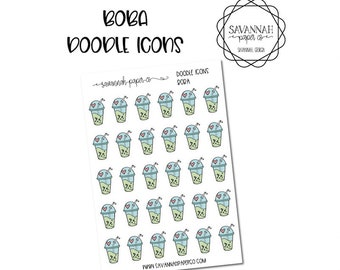 Boba Doodle Icon Stickers / Icons / Functional Stickers / Vertical Layout / Planner Stickers /  / Savannah Paper Co
