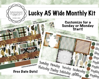 Lucky A5 Wide Monthly Kit / Full Kit / Recollections / EC / Planner Stickers  / Savannah Paper Co