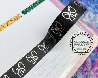 Black Bow Silver Foiled Washi Tape / Silver Foil / Exclusive Design / Paper Tape / Foiled Washi / Savannah Paper Co