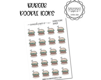 Burger Doodle Icon Stickers / Icons / Functional Stickers / Vertical Layout / Planner Stickers /  / Savannah Paper Co