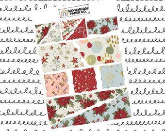 Holiday Dinner Ripped Paper Journaling Stickers / B6 Kit / PP Weeks / Horizontal /Vertical /  Planner Stickers / Savannah Paper Co