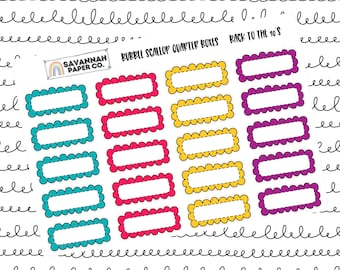 Back to the 90s Quarter Bubble Scallop Boxes / Multi Color / B6 / Vertical Layout / Planner Stickers / Functional / Savannah Paper Co