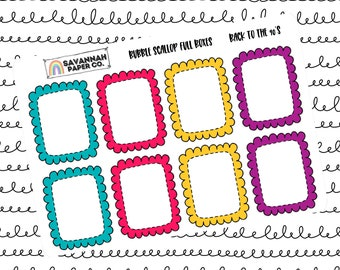 Back to the 90s Full Bubble Scallop Boxes / Multi Color / B6 / Vertical Layout / Planner Stickers / Functional / Savannah Paper Co