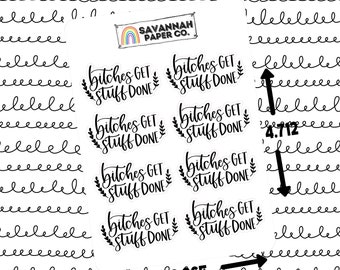 Bs Get Stuff Done Script Stickers / Words / Functional Stickers / Vertical Layout / Planner Stickers / Savannah Paper Co