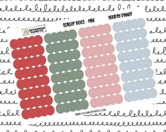 Holiday Dinner Mini Scallop Boxes / Multi Color / B6 / Vertical Layout / Planner Stickers / Headers / Functional / Savannah Paper Co