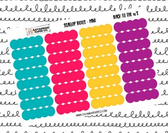 Back to the 90s Mini Scallop Boxes / Multi Color / B6 / Vertical / Planner Stickers / Labels / Headers / Functional / Savannah Paper Co
