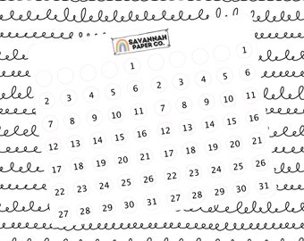 Date Dots Stickers / B6 Kit / PP Weeks / Horizontal /Vertical / Monthly / Planner Stickers / Monthly / Savannah Paper Co
