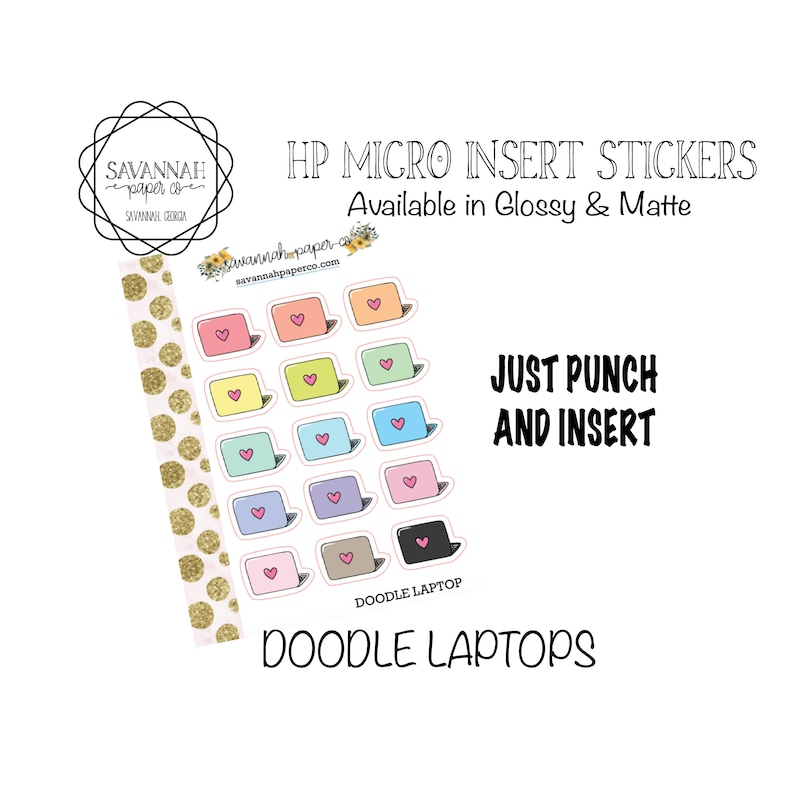 Doodle Laptops Stickers Hp Micro Insert Stickers Functional Stickers Erin Condren Planner Stickers Happy Planner Savannah Paper Co
