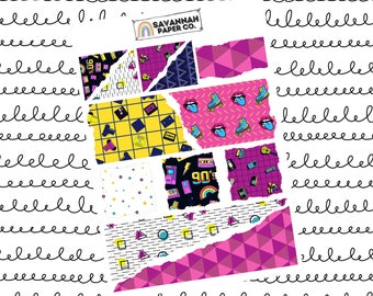 Back to the 90s Ripped Paper Journaling Stickers / B6 Kit / PP Weeks / Horizontal /Vertical /  Planner Stickers / Savannah Paper Co