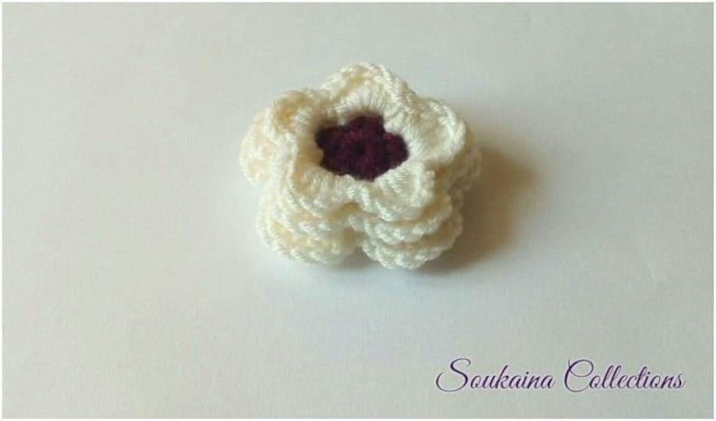 Crochet Flower PATTERN Crochet Flower Applique Crochet image 0