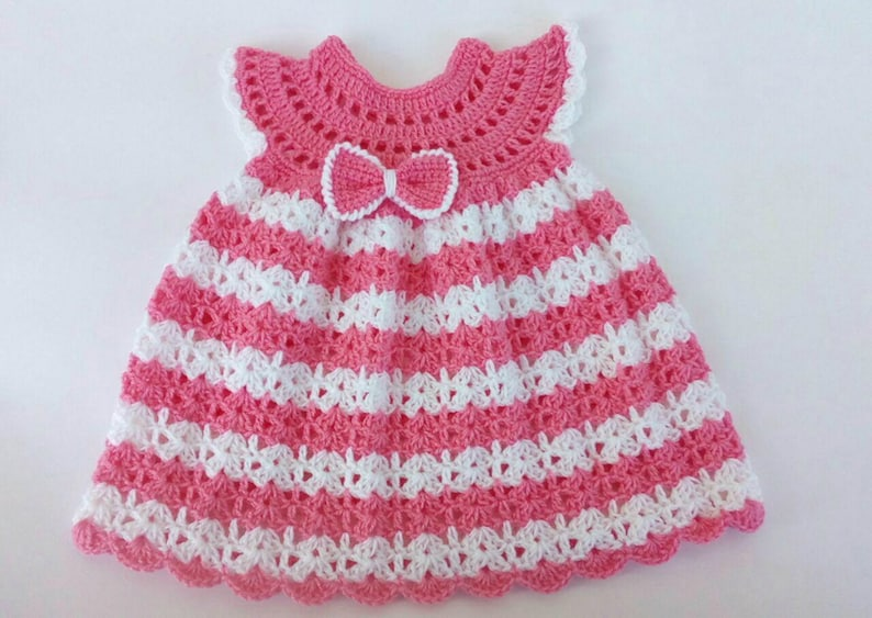 Crochet baby dress pattern baby girl dress crochet dress 6-9 image 0