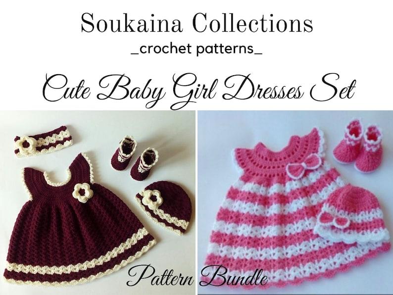 Crochet Bundle Baby Dress SET Crochet Baby Dress Pattern image 0