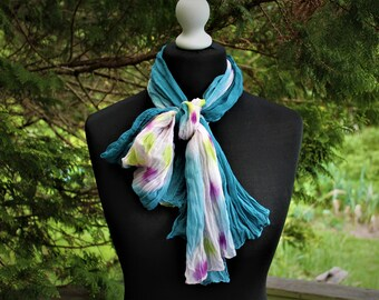 959aef7e65c7d Scarf vintage cotton white batic blue ruffled purple yellow gift for her  accessory