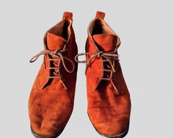 US7.5 Vintage 90s Brown Leather Elegant Ankle Boots for Women size EU38  UK5.5  US7.5