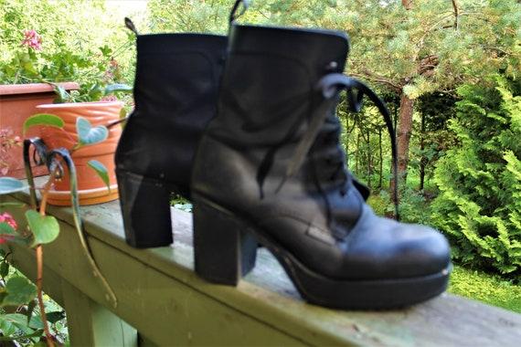 Black Bullhead women ankle boots vintage shoes gru