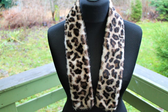 Vintage fake fur collar leopard print women brown