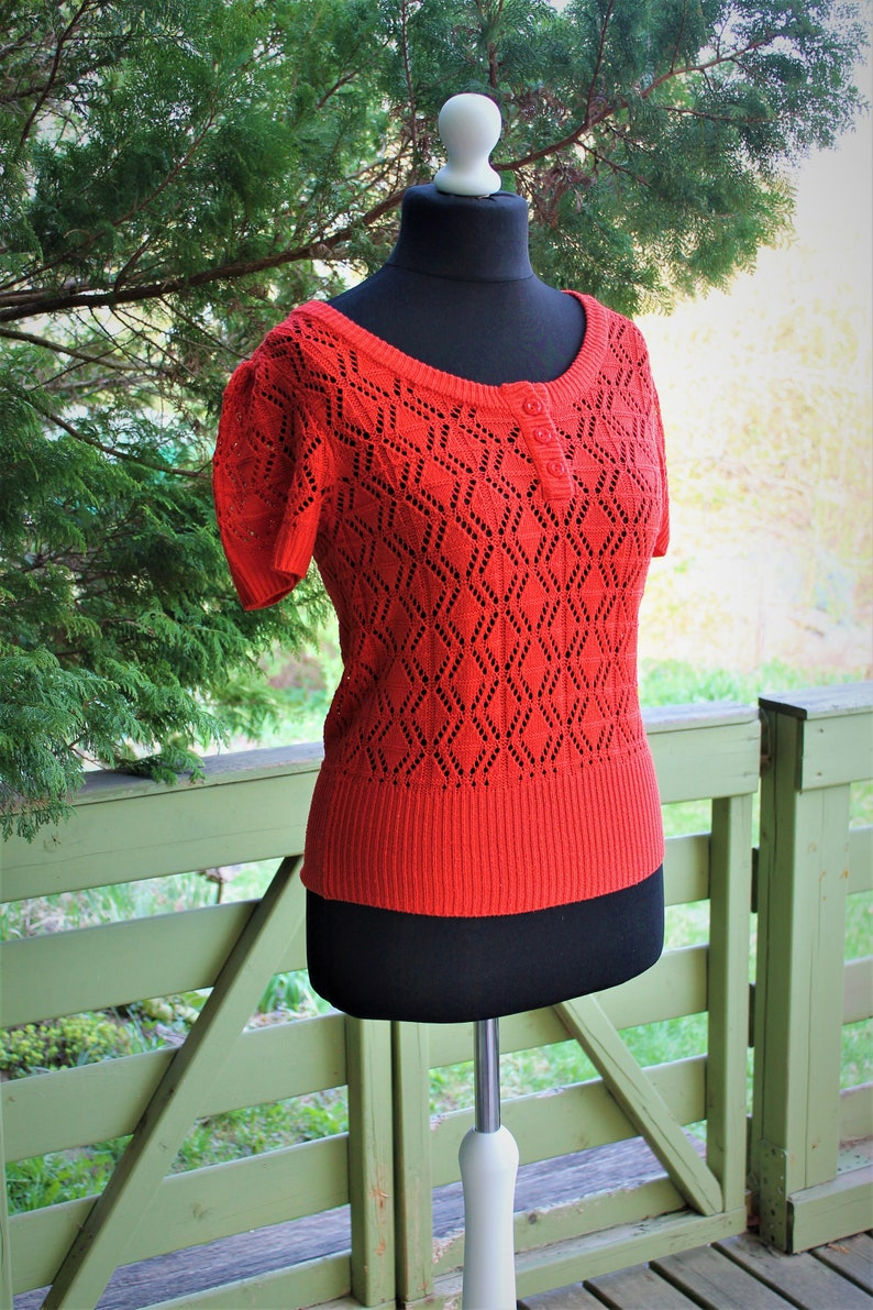 Blouse orange knitted women vintage summer top sweater Size M L