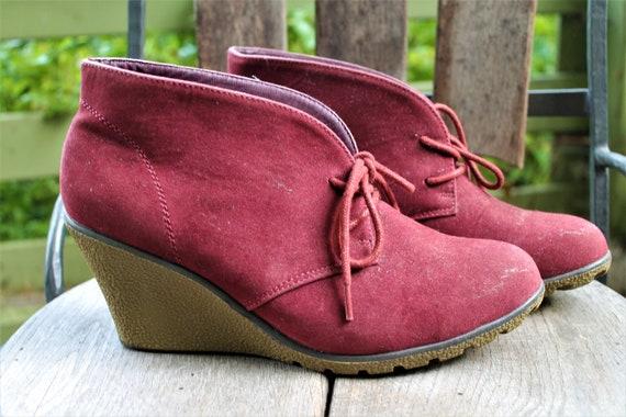 Vintage red shoes ankle boots women platforms Size 40 EU 6.5 UK 9 US