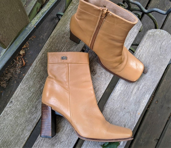 Vintage light brown high heels ankle boots women l