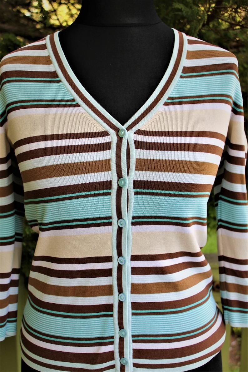 Cardigan vintage women sweater striped blue beige brown 1990 Size S