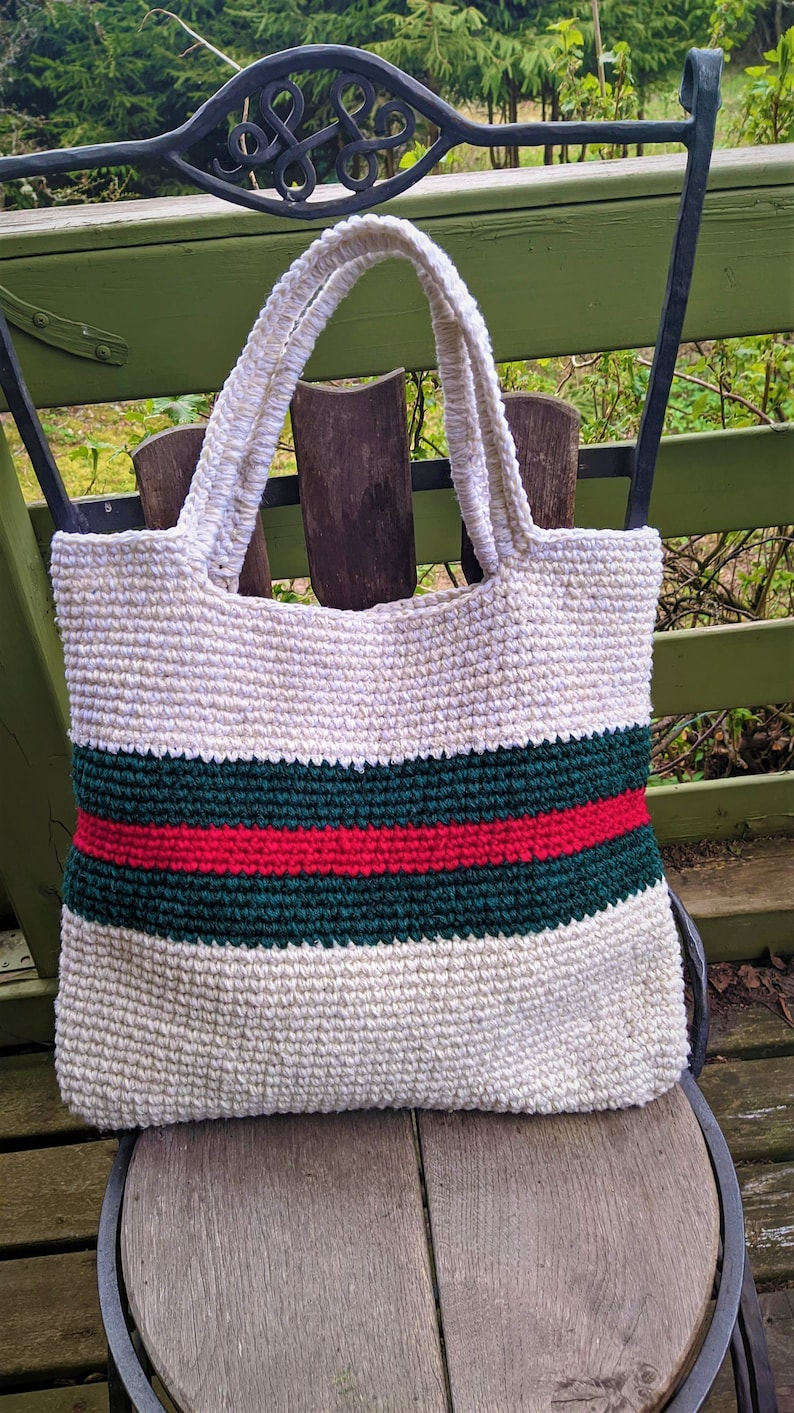 White green red bag market upcycling recycling women reworked zero waste gift for her