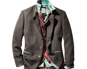 Vintage 90s dark grey wool Tyrol style mens Janker Jacket  blazer  Trachtenjanker by Julius Lang \u2022 menswear vintage clothing size L