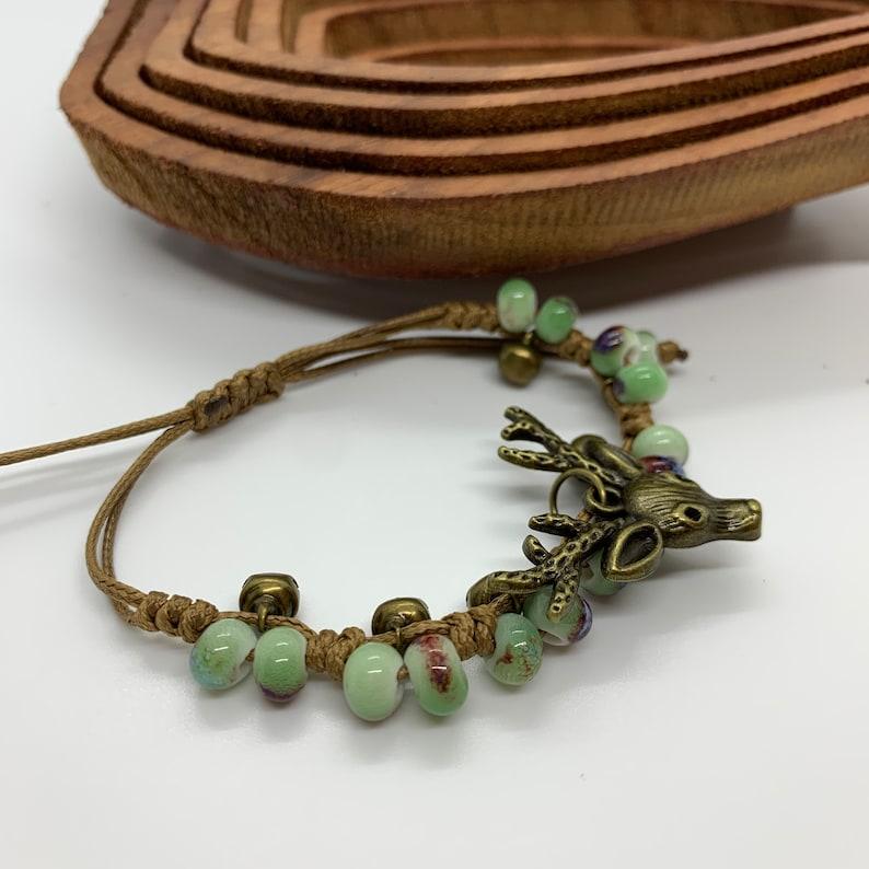 Deer Head bracelet with Bells and beads adjustable