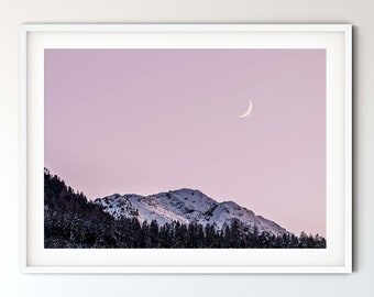 Photography Crescent moon in the mountains, 50 x 75 cm, 60 x 90 cm, 70 x 105 cm, large poster