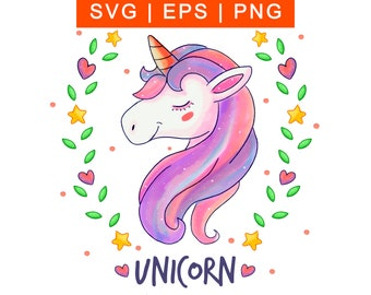 Unicorn Face clipart Digital Download Unicorn Head SVG | Etsy