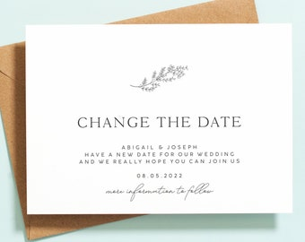 Postponed Wedding Cards, Change of Date Cards, Wedding Date Change Cards, Wedding Postponed Announcement Cards, Floral Change the Date #124