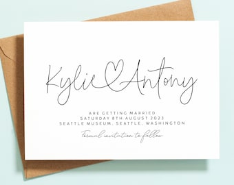 Simple Save the Date Cards, Save the Date Wedding Announcement, Calligraphy Save the Date Pack, Modern Save the Date Postcard Invite #082
