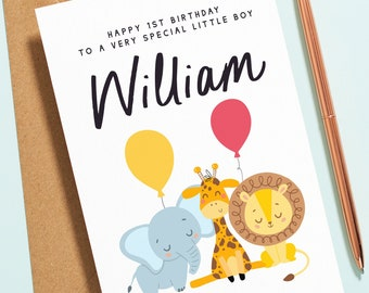 Personalised Boys 1st Birthday Card, First Birthday Card For Boy, Animal Birthday Card, Cute Safari Animals Greetings Card For Baby B141