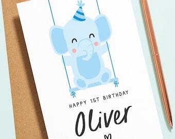 Personalised 1st Birthday Card, Elephant First Birthday Card, Cute Baby Animal Birthday Card For 1st, 2nd, 3rd, 4th, 5th Birthday B142