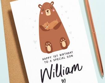 1st Birthday Card For Son, Boy First Birthday Card, Special Son 1st Birthday Card, Baby Bear First Birthday, Cute Teddy Bear Birthday B145