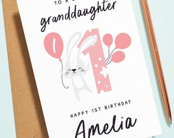 Happy 1st Birthday Granddaughter, To A Special Granddaughter, First Birthday Card, Granddaughter Card For  1st, 2nd, 3rd, 4th Birthday B151