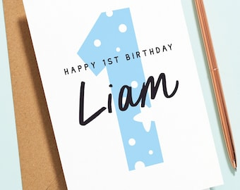 1st Birthday Card For Boy, Son, Grandson, Nephew, Personalised First Birthday Card, Any Name or Number, Blue One Today Card B146