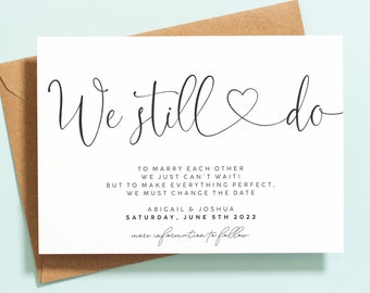 Postponed Wedding Cards, Change of Date Cards, Wedding Date Change Cards, Wedding Postponed Announcement Cards, We Still Do, New Plan #124