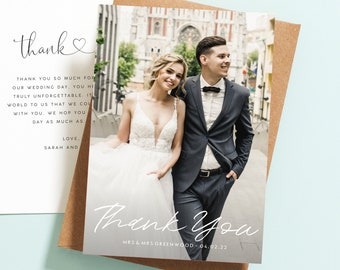Double Sided Wedding Thank You Card with Photo, Personalised Wedding Thank You Cards, Wedding Thank You Postcard with Envelopes Rustic #085