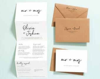 Concertina Wedding Invitations, Rustic Script Wedding Invitation with Envelopes, Tri Fold Wedding Invites with RSVP & Guest Information #114