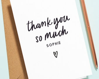 Personalised Thank You Card For Best Friend, Thank You So Much Greeting Card, Custom Name Wedding Thank You Card, Birthday Thank You TY017
