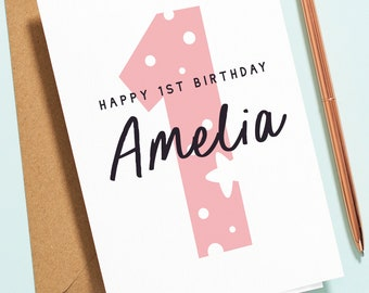Personalised Girls 1st Birthday Card, First Birthday Card For Daughter, Granddaughter, Niece, 1 Today Card, Pink Baby Girl Card B150