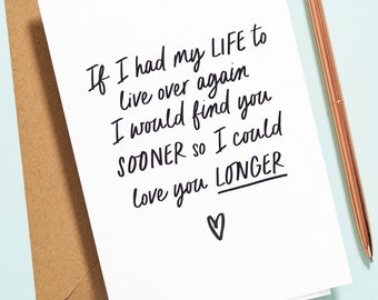 Romantic Birthday Card For Her, Card For Wife, Girlfriend, Wife To Be, I Would Find You Sooner Love You Longer Thank You Card TY021