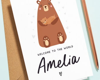 Cute Animal New Baby Card, Welcome to the World Card, Baby Announcement Card, Pregnancy Card, Congratulations Card Baby Boy, Baby Girl NB008