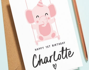 Personalised Girls 1st Birthday Card, First Birthday Card, Personalised Card, Elephant Baby Birthday Card For Daughter, Niece, Sister B143