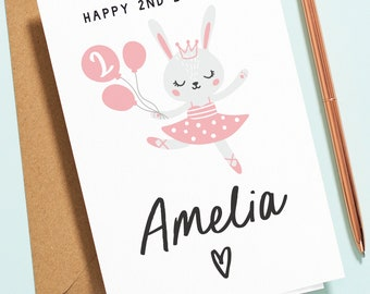 Happy 2nd Birthday Card For Daughter, Niece, Sister, Personalised 2nd Birthday Card, Any Name, Cute Bunny Rabbit Birthday Card, Pink B147