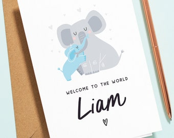 Personalised New Baby Boy Card, Baby Card For Boy, Blue Baby Elephant Card, Baby Congratulations Card, Welcome to the World, Newborn NB011