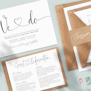Modern Luxury Wedding Invitation Bundle Suite Personalised Minimal Wedding Invite Set with RSVP Guest Information Cards and Envelopes #117