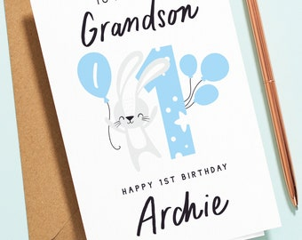 1st Birthday Card For Grandson, To A Special Grandson, Happy First Birthday, Cute Bunny Birthday Card For Baby, Blue Boy Birthday Card B152
