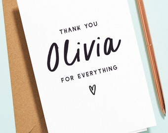 Personalised Thank You Card For Best Friend, Mum, Sister, Thank You For Everything Thank You Card, Supportive Card with Custom Name TY013