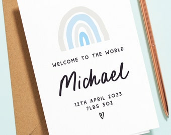 Blue Rainbow New Baby Card, Welcome to the World Card, New Born Baby Card, Congratulations Baby Card, Blue Boy Baby Card, New Parents NB020